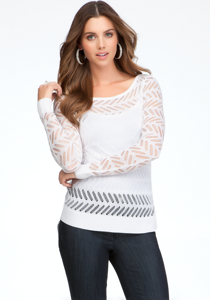 Bold Stripe Chiffon Back Sweater