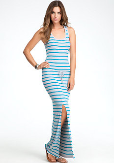 bebe Logo Drawstring Stripe Maxi Dress