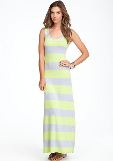 bebe Logo Stripe Racerback Tank Dress