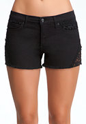 bebe Lace Cut Off Denim Shorts