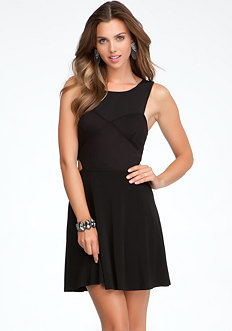 bebe Fit & Flare Side Cutout Dress
