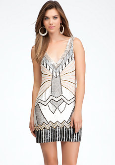 bebe Art Deco Embellished Shift Dress