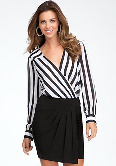 bebe Directional Stripe Bodysuit