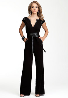 bebe Wrap Belt Knit Jumpsuit - PETITES
