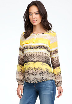 bebe Long Sleeve Pocket Print Blouse