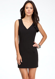 bebe V-Neck Ruffle Shoulder Dress