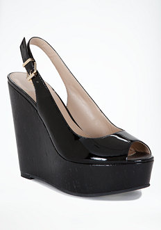bebe Mallory Patent Leather Cork Wedge