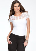 bebe Bar Mesh Top - ONLINE EXCLUSIVE