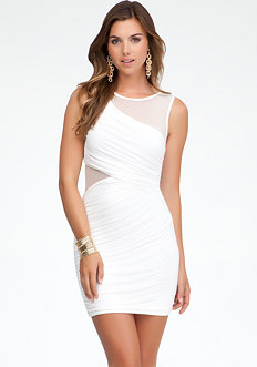 bebe Draped Mesh Insert Dress