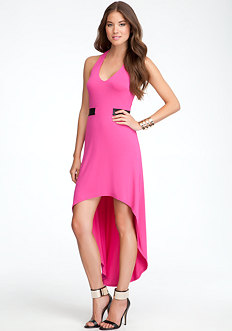 bebe T-Strap Halter High Low Dress