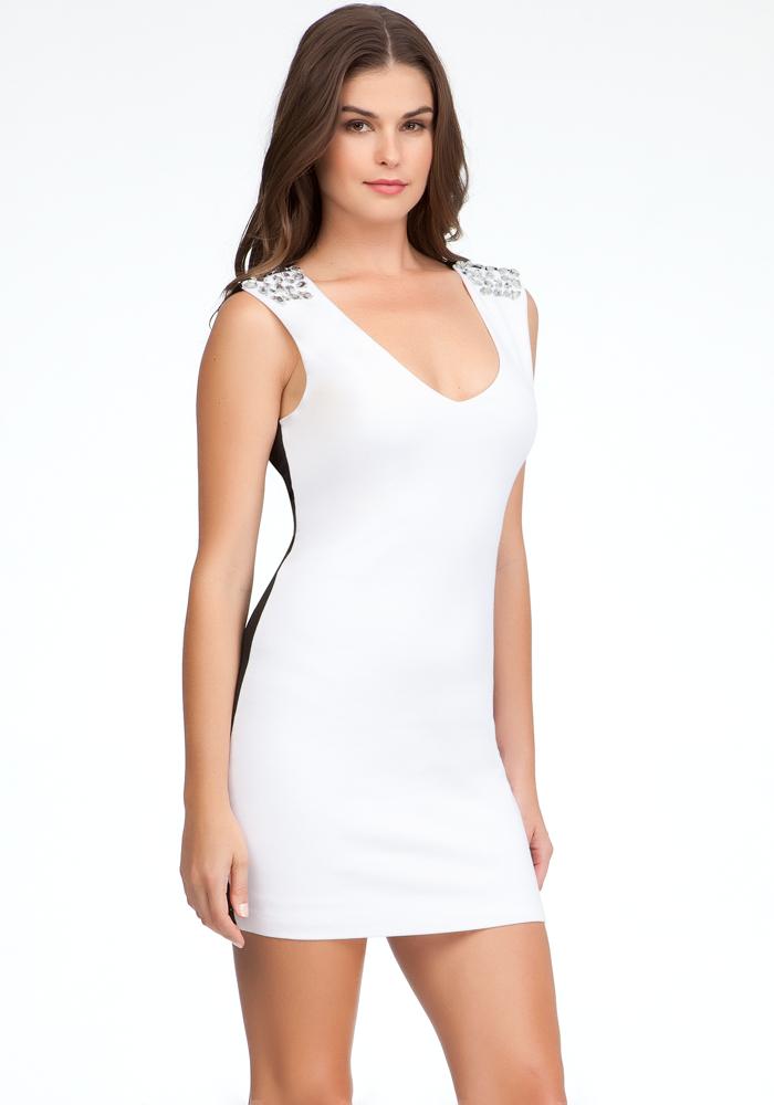 Embellished Shoulder Open Back Dress