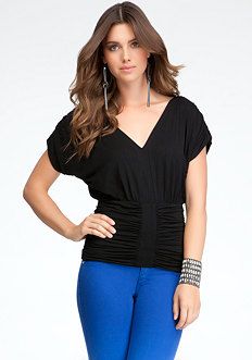 bebe Ruched V-Neck Knit Top
