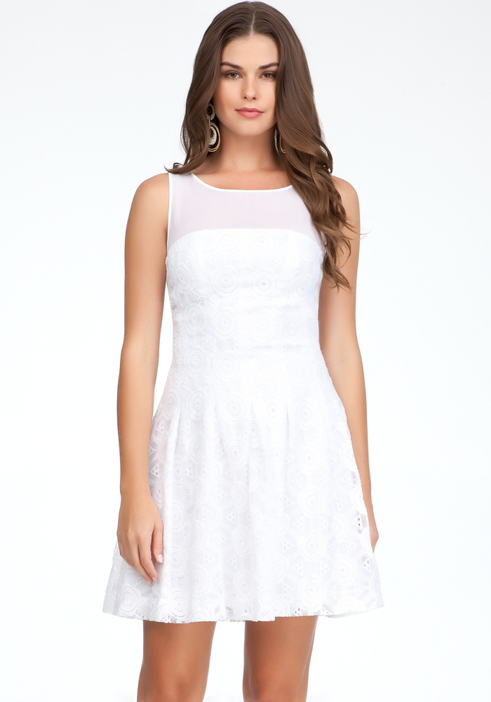 Mesh Yoke Embroidered Dress