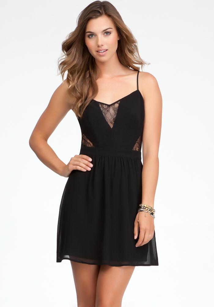 Lace Inset Flirt Skirt Dress