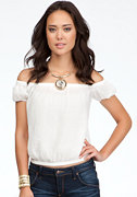 bebe Short Sleeve Peasant Top