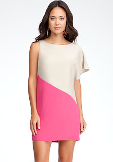 bebe One Shoulder Colorblock Silk Dress