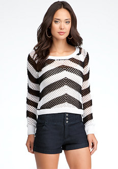 bebe Stripe Crop Sweater