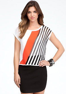 bebe Diagonal Stripe Colorblock Top