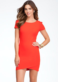 bebe Puff Sleeve Tulip Hem Dress