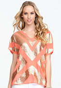 Sequin V-Neck Woven Top - ONLINE EXCLUSIVE at bebe