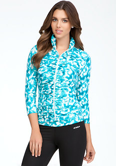bebe Ruched Print Funnel Jacket - BEBE SPORT ONLINE EXCLUSIVE