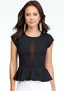 bebe Gina Ponte Peplum Top - ONLINE EXCLUSIVE