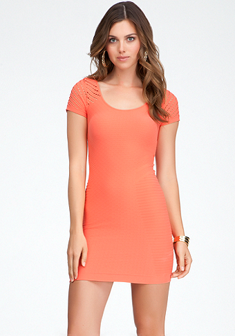 bebe Diamond Cutout Bodycon Dress