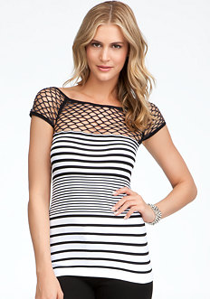 bebe Open Weave Shoulder Stripe Top - ONLINE EXCLUSIVE