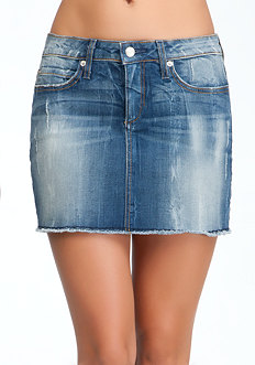bebe Frayed Hem Mini Skirt