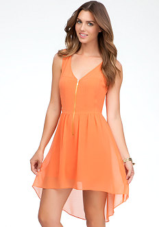 bebe Coleman High Low Zipper Front Dress