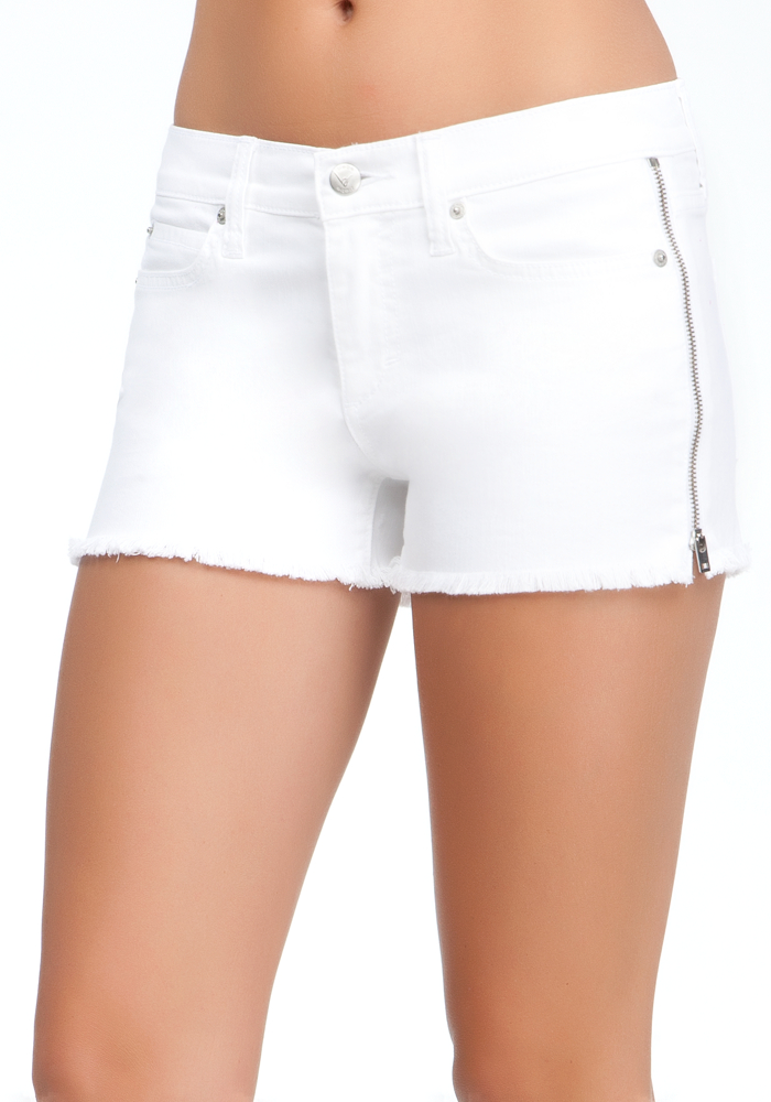Raw Edge Zipper Denim Shorts