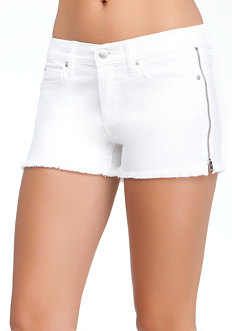 bebe Raw Edge Zipper Denim Shorts