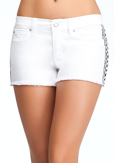 bebe Embroidered Cut Off Denim Shorts