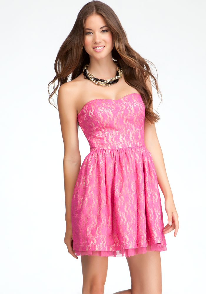 Lewis Strapless Lace Dress