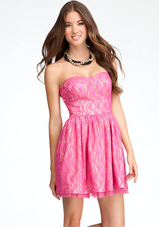 bebe Lewis Strapless Lace Dress