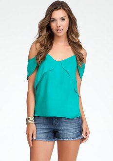 bebe V-Neck Off Shoulder Top