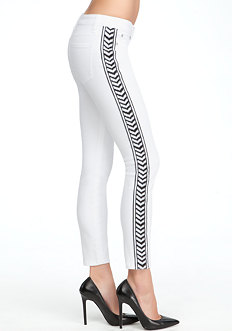 bebe Embroidered Tux Ankle Skinny Jeans