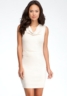 bebe Cowl Neck Shirred Dress