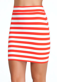 bebe Striped Mini Skirt