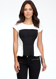 Geometric Peplum Top - ONLINE EXCLUSIVE at bebe