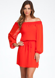 bebe Off Shoulder Woven Dress
