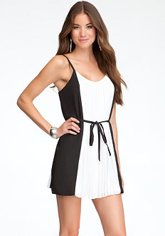 bebe Colorblock Tie Dress