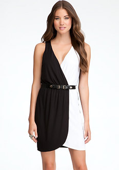 bebe V-Neck Colorblock Belted Dress