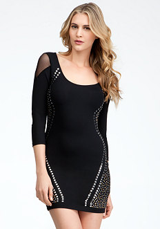 bebe Studded 3/4 Sleeve Dress