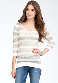 bebe Mix Yarn Stripe Sweater