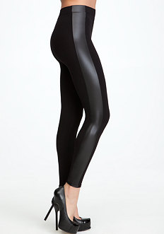 bebe Side Stripe Leatherette Legging - ONLINE EXCLUSIVE