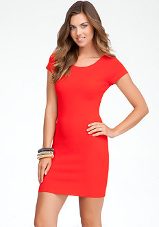 bebe Crew Neck Rib Sweater Dress