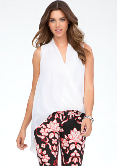 bebe Asymmetric Wrap Hem Top