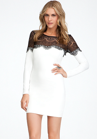 bebe Eyelash Lace Bodycon - ONLINE EXCLUSIVE