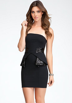 bebe Sequin Contrast Peplum Dress - ONLINE EXCLUSIVE
